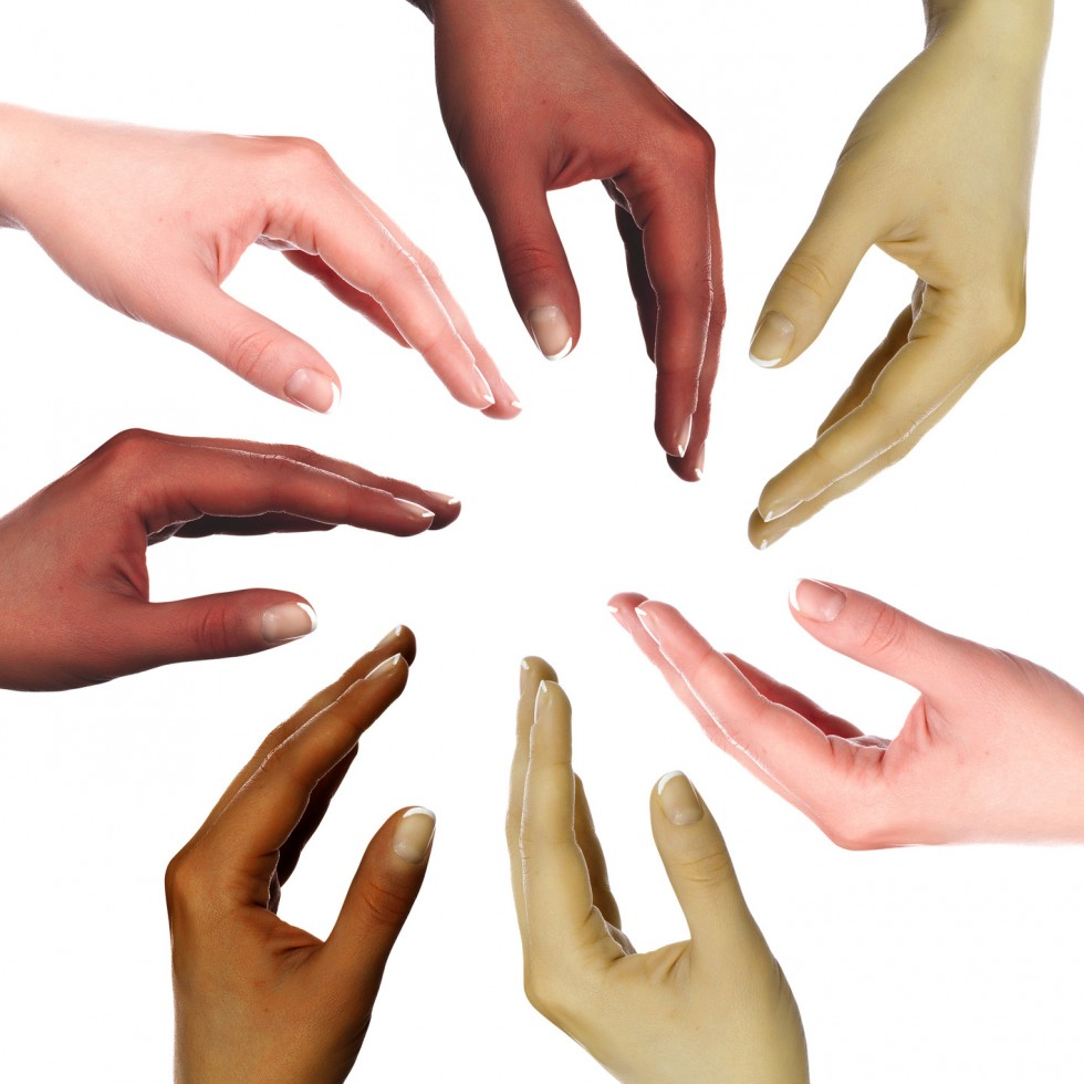 human hands as symbol of ethnical diversity